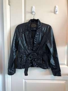 Ruffle Faux Leather Ladies Jacket - Large