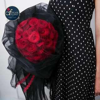 33 Stalks Red🌹Roses w/ Black gauze (Fresh Flower Bouquet) | Rose Flower | Flower Bouquet | Flower | Flowers | Fresh Flower | Rose | Roses
