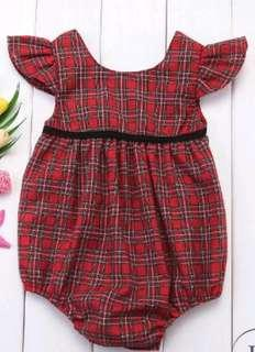 Beautiful red checkers romper