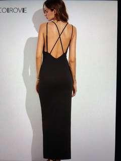 maxi backless dress with slit