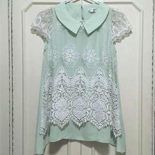 Mint Green Lace Umbrella Cut Blouse Top
