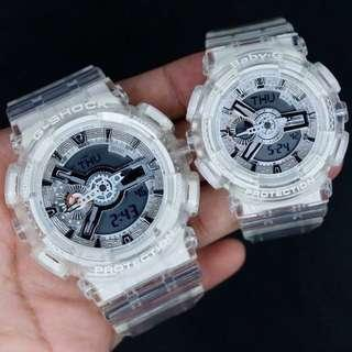 COUPLE💝SET in BABYG & GSHOCK DIVER WATCH : 1-YEAR OFFICIAL WARRANTY: 100% Original Authentic BABY-G & G-SHOCK in CRYSTAL CLEAR Best For Most Rough Users & Unisex : BA-110CR-7A / GA-110CR-7A / GA-110 / BA-110 / BA110CR / GA110CR