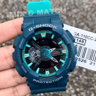 BEST🌟SELLING in GSHOCK DIVER SPORTS WATCH : 1-YEAR OFFICIAL WARRANTY: 100% ORIGINAL AUTHENTIC G-SHOCK WATCH in TURQUOISE BLUE ABSOLUTELY TOUGHNESS : Best Gift For Most Rough Users & Unisex: GA-110CC-2A / GA-110 / GA110 / GA110CC-2A / GSHOCK DIVER WATCH