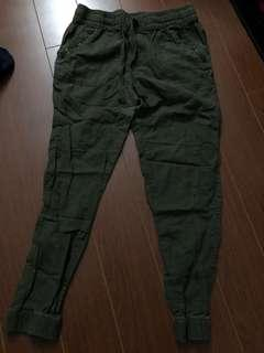 Military green joggers from garage