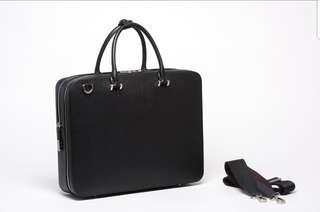 Faire Leather Co. Bond CG Travel Briefcase in Black (Cross-Grain Leather)