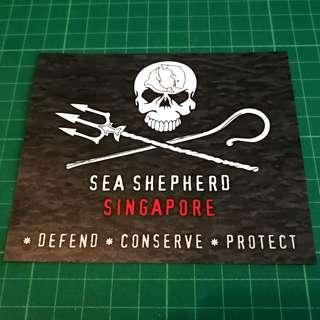 Waterproof Sticker - SEA SHEPHERD SINGAPORE * DEFEND * CONSERVE * PROTECT *. 115 X 100 mm. $4 each. 3 for $10 with Free Normal Mail.
