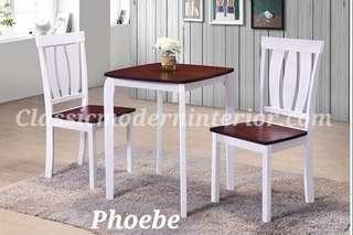 Dining Set 2-seater White / Mahogany Phoebe