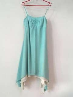 Lady's evening gown, tiffany blue and milk white colour, Size S