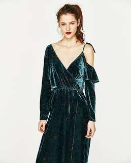 Zara velvet maxi dress size small