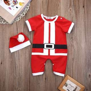 🚚 Instock - 2pc santa romper set, baby infant toddler girl boy