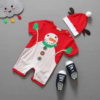 🚚 Instock - 2pc snowman romper set, baby infant toddler girl boy