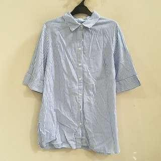 Chico's Striped Lace Up Blouse