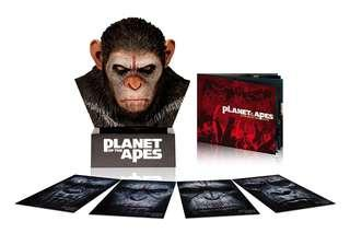 Ceasar Warrior Head Bust and 50 years of Planet of the Apes Complete 9 Movie Collection Blu-ray and 4k Boxset   12 discs set