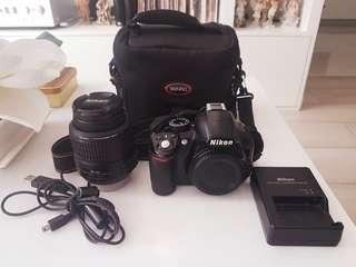 NIKON D3100 With 18-55 VR lens 85% looks new 📷