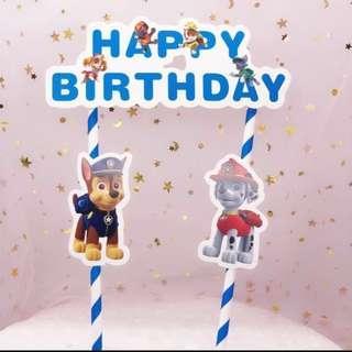 Paw Patrol Happy Birthday Wording Cake Topper
