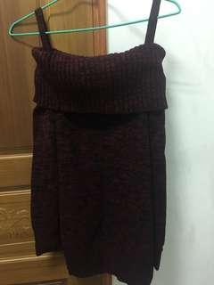 🚚 酒紅色針織上衣(穿1次)