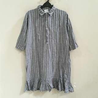 Grey Striped Blouse Dress
