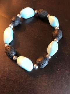 Lava and Turquoise bead bracelet
