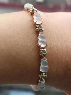 Natural A-grade emerald gold bracelet翡翠金手鏈