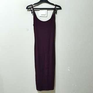 H&M Maroon Ribbed Jersey Dress