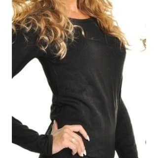 Black Women's Fleece-Lined Long Sleeved Thermal Top (Size 3XL)