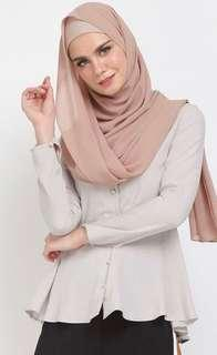 Poplook Flanery Front Button Blouse in Heather Beige