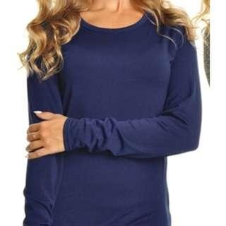 Blue Women's Fleece-Lined Long Sleeved Thermal Top (Size 3XL)