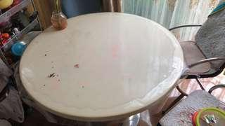 Marble top round dining table 1.1m diameter