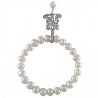 BNWT Bowerhaus Pearl Bracelet Silver Charm 7 mm White Semi Round Freshwater Pearls
