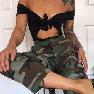 Black Tie-Up Bodysuit