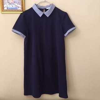 ZARA Navy Peterpan Dress