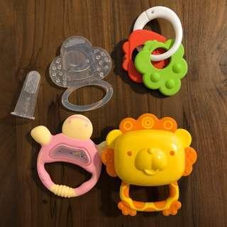 (包郵) 嬰兒牙膠五件