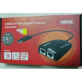 二手Unitek Y-3463 USB3.0 to Dual Gigabit Ethernet Converter