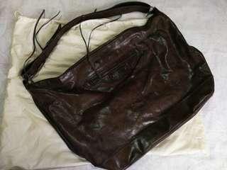 BALENCIAGA Chocolate Brown Large Arena Messenger Bag