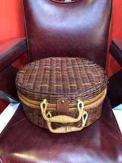 Vintage wicker basket suitcase