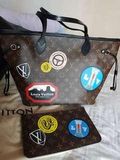 Authentic Louis vuitton world tour neverfull tote