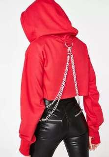 BLOOD CHAIN CROPPED HOODIE