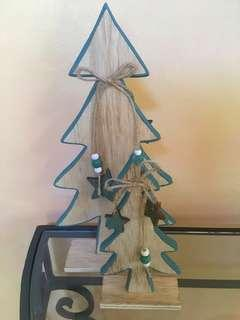 Wooden Christmas Tree Decor Set Of 2