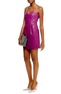 Topshop faux leather bandeau purple mini dress (new with price tag)