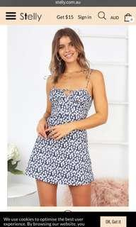 Stelly floral mini dress navy 10