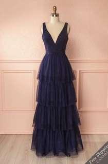 "Medium ""tutu"" Navy Blue Prom Dress"