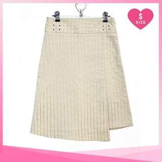 Korean Style Cream Assymetrical Skirt