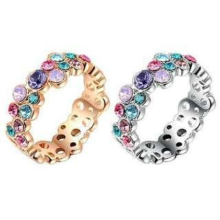 💎『女子七彩玫瑰水鑽9K鍍金戒指』 💰:450元            🚙:60元
