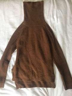 BROWN TURTLENECK KNIT JUMPER SIZE MEDIUM