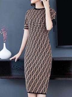 Denis Inspired Knitted Long Dress