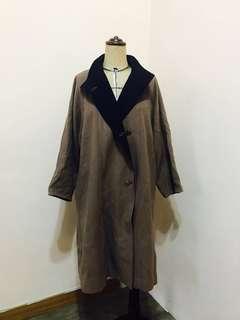 🚚 日本製 vintage古董90s駝色 寶藍翻領長大衣