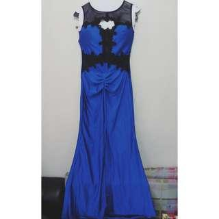 Lace Midnight Blue Long Gown