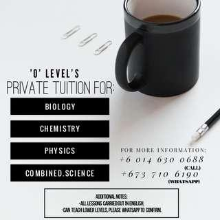2019 Tuition for Olevel science