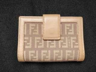 Authentic Fendi canvas leather card holder wallet