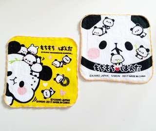 2件 熊貓純棉毛巾 手巾仔 兒童手帕 16×16cm